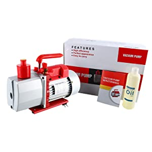8CFM 2-Stage Rotary Vane Vacuum Pump (0.3Pa, 1HP) for HVAC/Auto AC Refrigerant Recharging, Degassing Wine or epoxy, Milking Cow or Lamb, Medical, Food Processing etc.