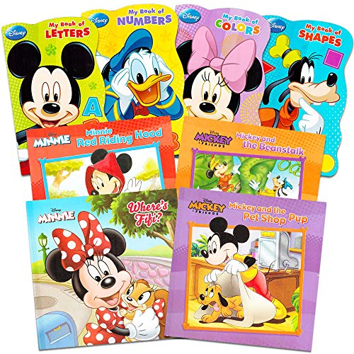 Disney Mickey Minnie Mouse Board Books Set for Kids Toddlers Bundle -- Pack of 8 Disney Books (6 Board Books, 2 Soft Cover Books) -