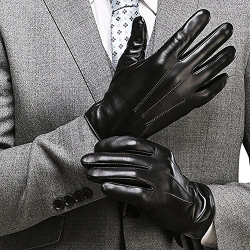 Black Driving Gloves - Harrms Best Touchscreen Nappa Genuine Leather Gloves for men's Texting Driving (XL-9.4