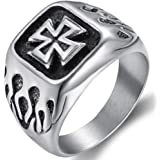 Sterling Silver Womens Mens Iron Cross Ring Unique 925 Band 15mm Sizes 6-15