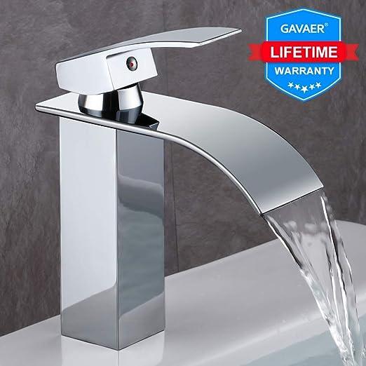 GAVAER robinet salle de bain, Design Moderne de Cascade Robinet Lavabo,  Conception durable de corps de valve de cuivre, Laiton chromé. Eau chaude  et ...