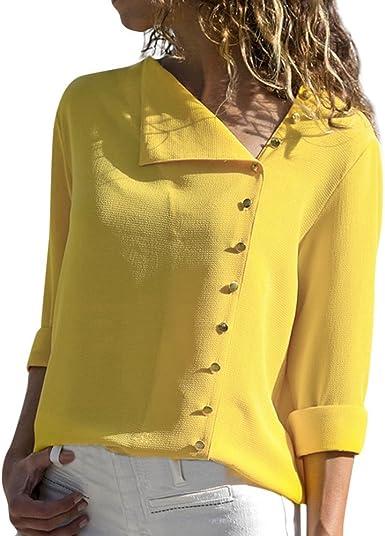 SHOBDW Moda para Mujer Casual Cuello con Solapa Camiseta Oficina Señoras Camisa botón sólido Hebilla Blusa otoño Invierno Tops de Manga Larga: Amazon.es: Ropa y accesorios