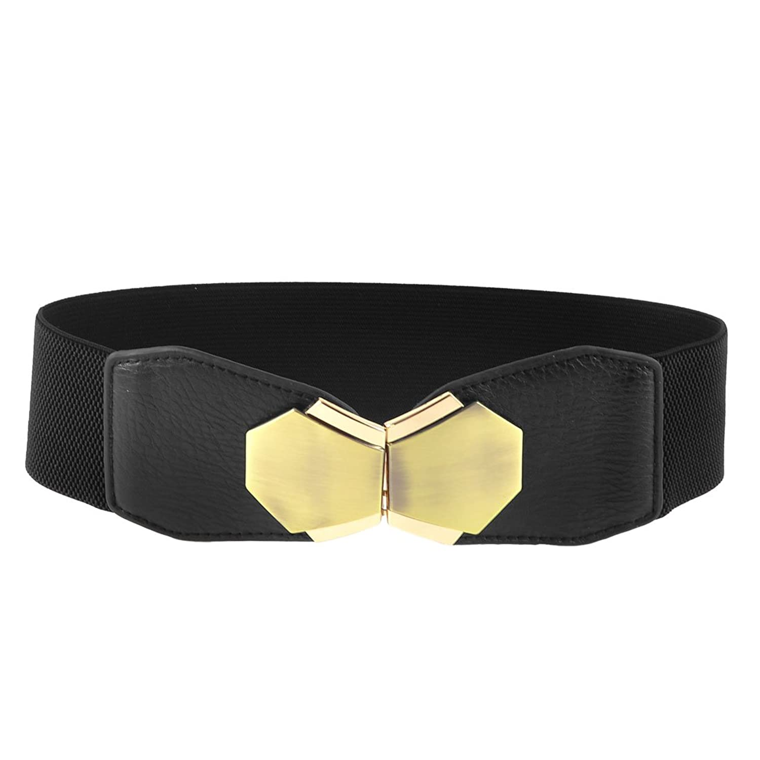 Interlocking Closure Faux Leather Stretchy Waist Belt Cinch 6CM Wide for Woman