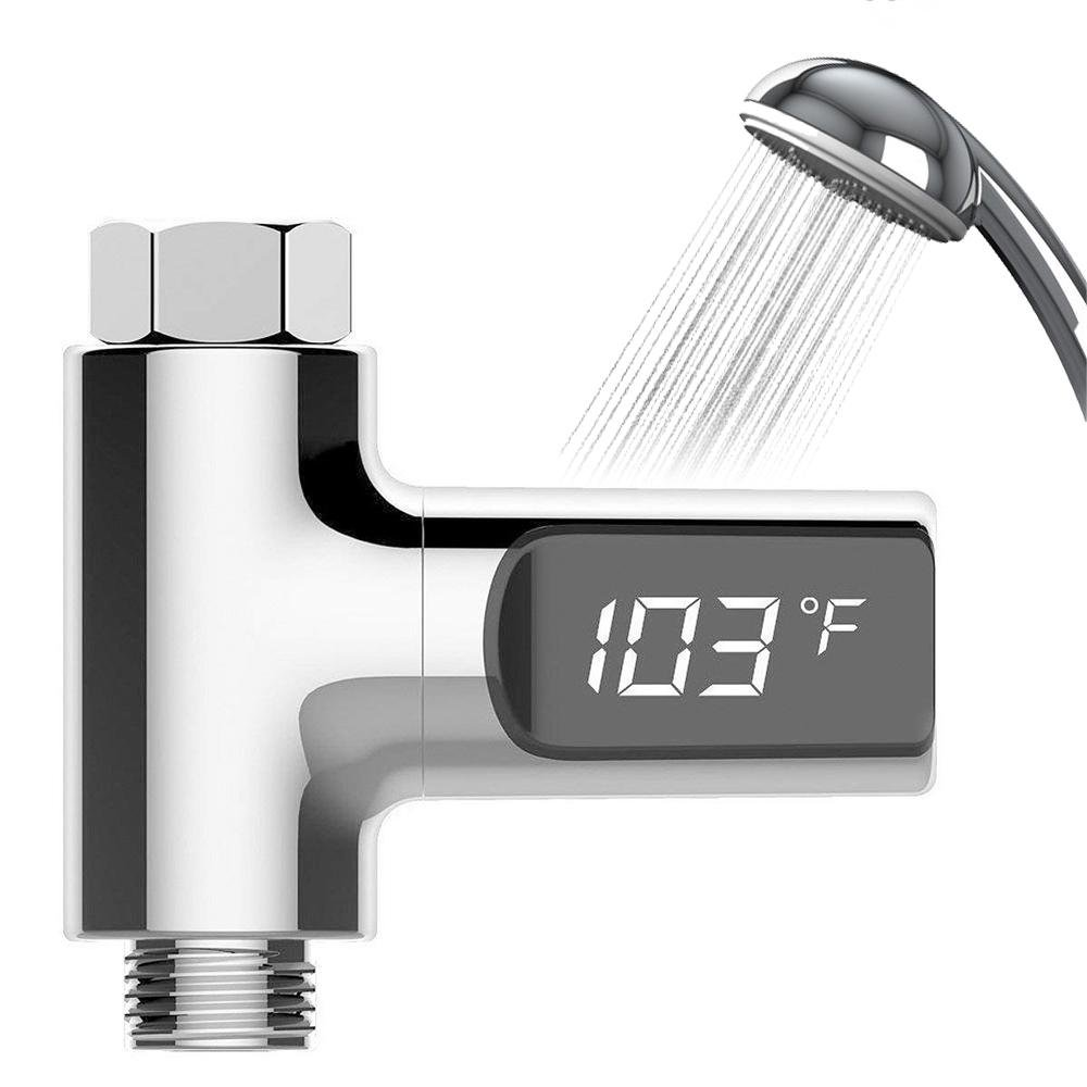 LED Shower Water Theremometer, No Battery Self-Generating Real Time Water Temperature Monitor for Home Bathroom Essentails and Hotel UMIWE