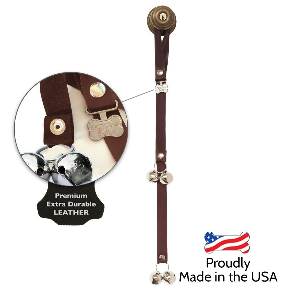 Authentic PoochieBells Premium Leather Edition Housetraining Dog Doorbells - Dark Walnut