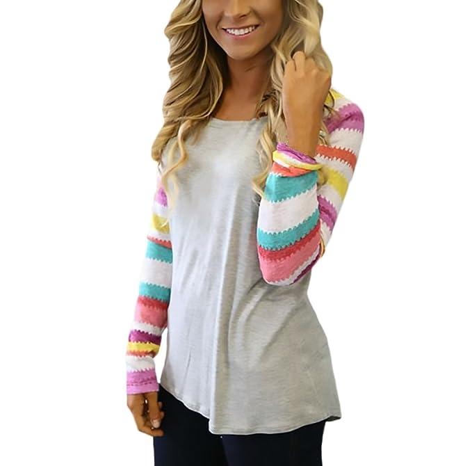 Mujer Camisetas Manga Larga Estampadas Multicolor Rayas Patchwork T Shirt Tops Elegantes Cuello Redondo Casual Moda Otoño Invierno Camisas Blusa Basicas ...