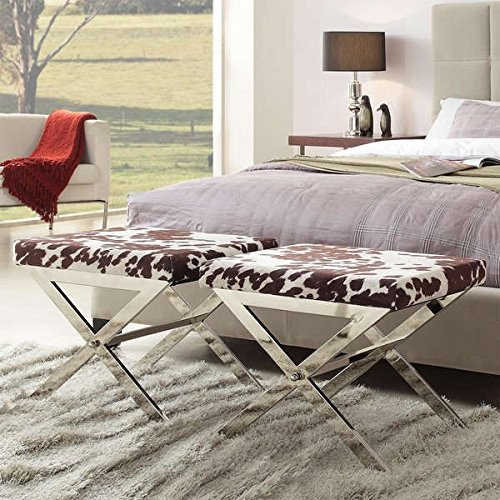 Cowhide Print 22-inch Metal Bench Made of Nickel-finished Chrome and Fabric, Use It As a Footstool in the Den, in the Living Room or a Fun Accent Table in a Teen's Bedroom.