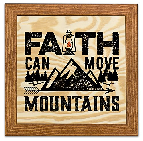 Framed Wood Wall Art/Decorative Sign 9'' x 9'' - Faith Can Move Mountains by Art Plates