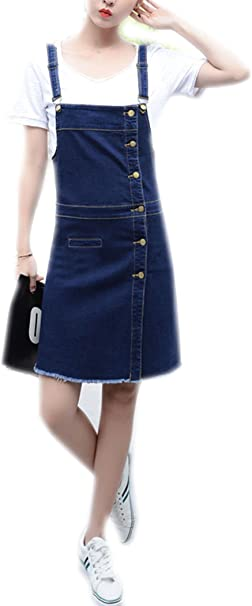 Luodemiss Women\'s Plus Size Denim Cute Overall Dress Front Button Down  Jeans Shortall Dresses