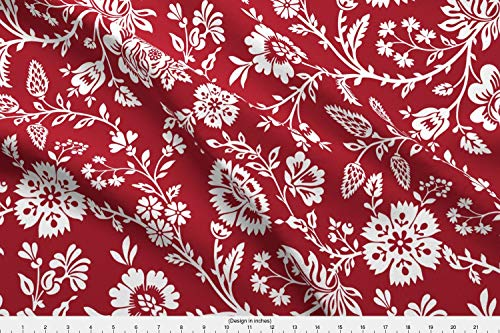 19th Century Fabrics - Spoonflower Classic Fabric - Provencal 19Th Century Christmas Festive Floral Vine Red White - by Incognitoshop Printed on Minky Fabric by The Yard