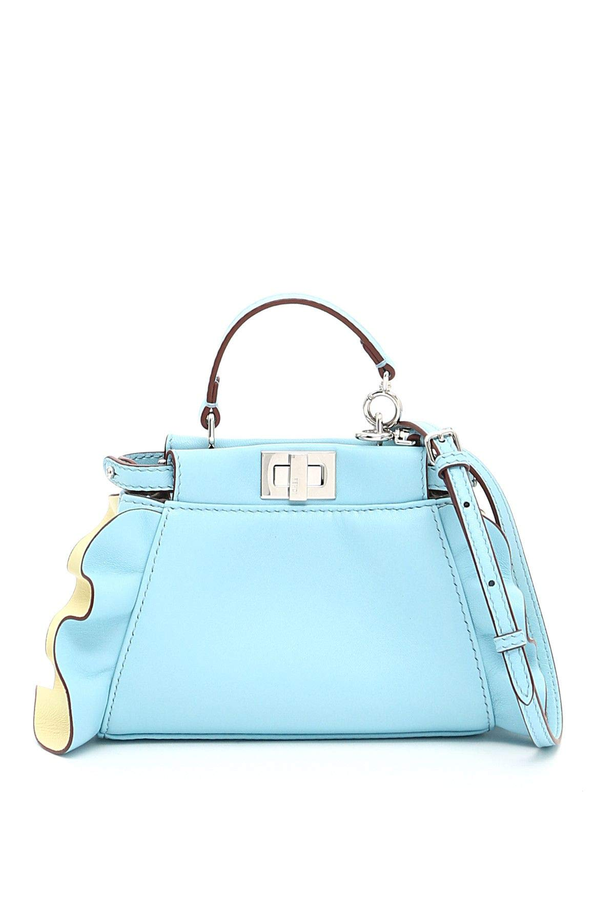 Fendi Women's 8M0355s3zf06mz-Mcf Light Blue Leather Shoulder Bag