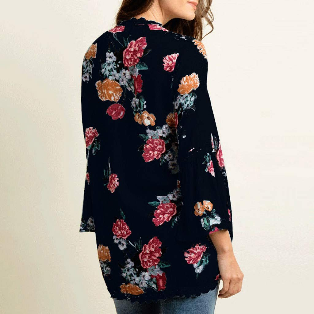 Funic 2019 Womens Chiffon Cover Up Shawl Print Lace Kimono Cardigan Flare Sleeve Beachwear