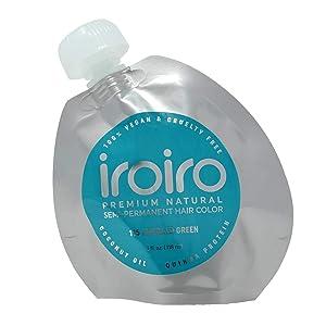 Iroiro Natural Premium Semi-Permanent Hair Color 115 Emerald Green 4oz