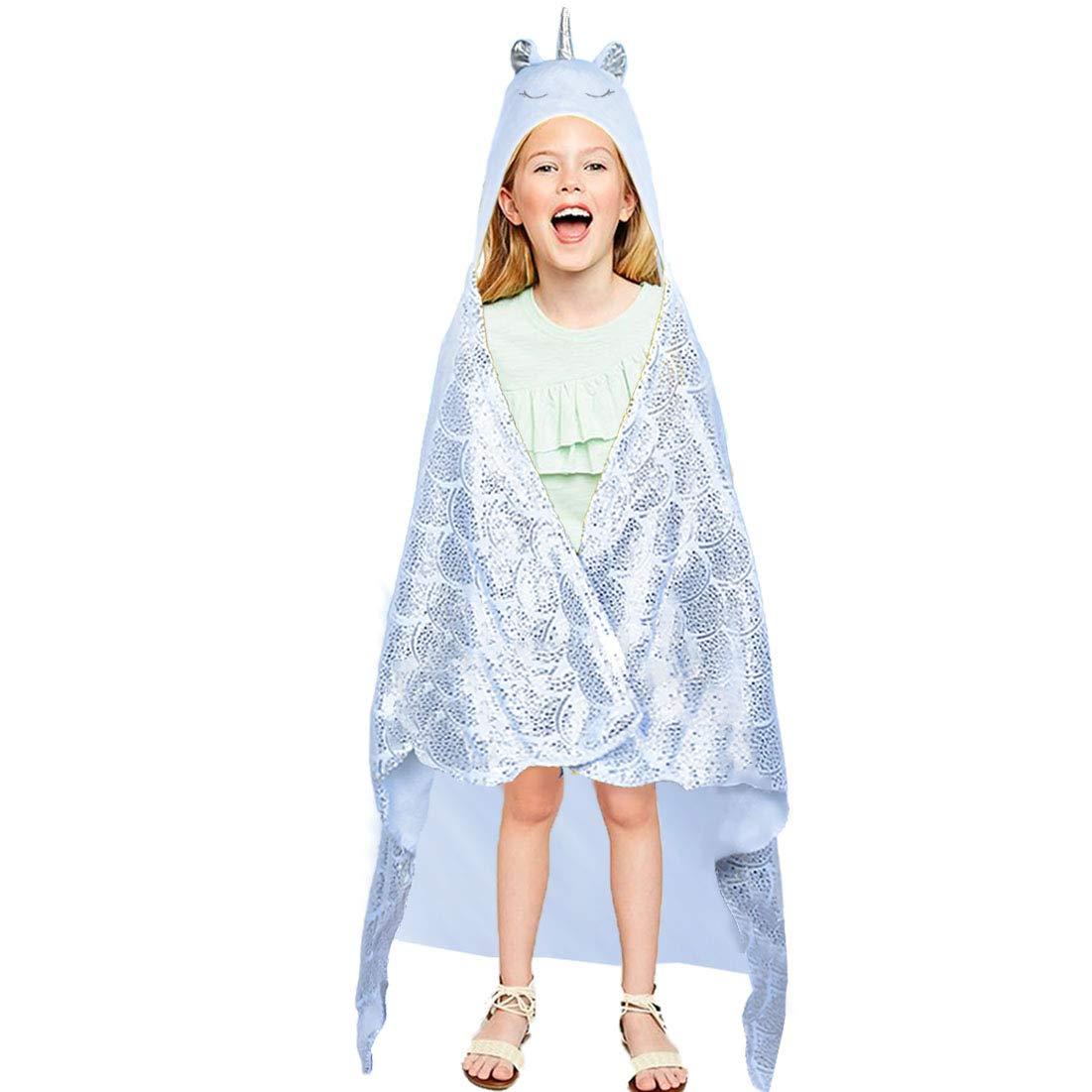 Unicorn Blanket for Kids - Hooded Wearable Cozy Blanket Unicorn Hoodie Cloak for Sleeping Traveling
