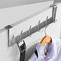 Ecooe Deurhangrail deurkapstok roestvrij staal afneembaar kledinghaak zonder boren met 6 haken haaklijst voor deurdiktes…
