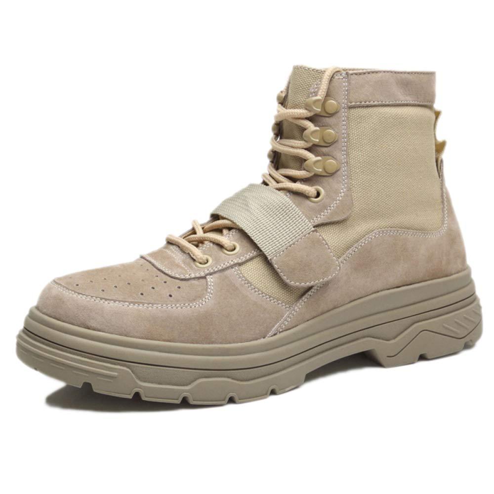 Sicherheitsschuhe Männer Trainer Wasserdichte Leichte Walking Martin Stiefel Stiefeletten Hoch Geschnittene Leder Militär Stiefel,Sand-43