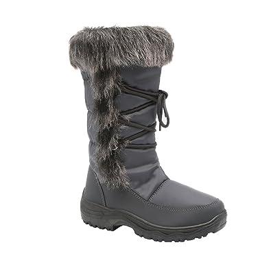 FP19 Women's Mid Calf Side Zipper Lace Up Lug Sole Winter Snow Boots