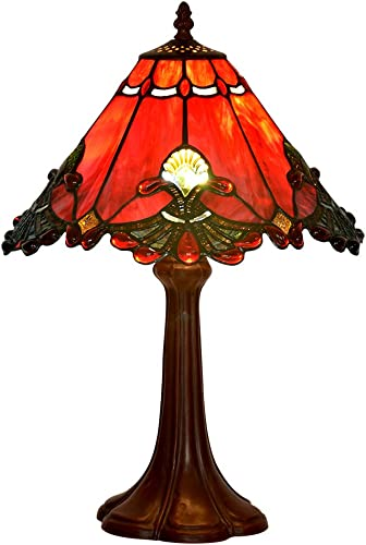 BIEYE L10021 Baroque Tiffany Style Stained Glass Table Lamp Night Light with 13 Inches Wide Handmade Lampshade Metal Base for Bedside Bedroom Living Room, 13 W x 19 H, Red
