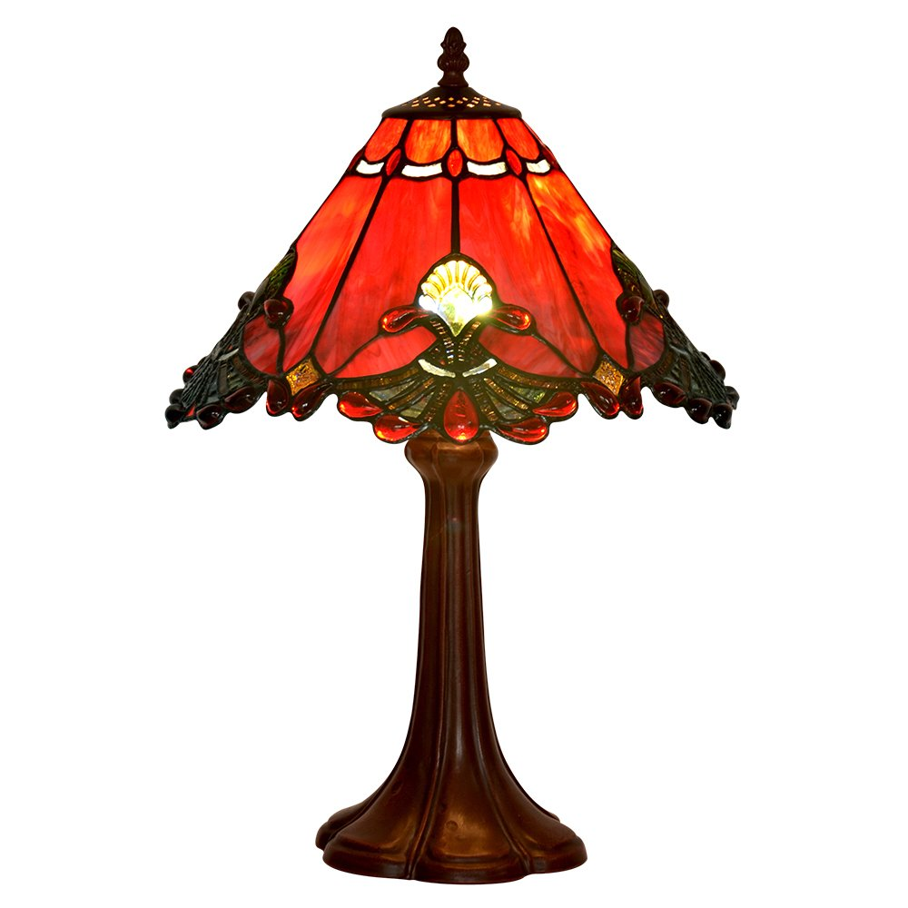 Bieye L10021 13 inch Baroque Tiffany Style Stained Glass Table Lamp with Zinc Base (Red)
