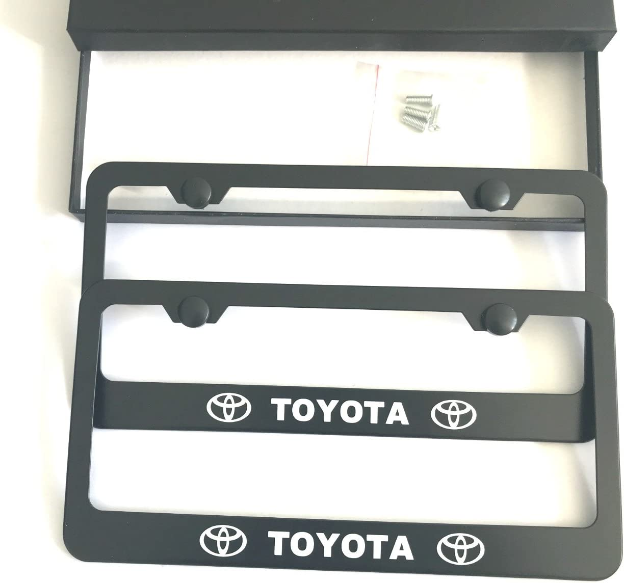 MAX WHOLESALE Stainless Steel License Plate Frame Rust Free With Bolt Caps For Toyota Cover (2-Black)