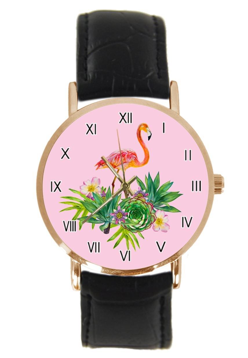jkfgweeryhrt New Simple Fashion Pink Flamingo Steel Leather Analog Quartz Sport Wrist Watch