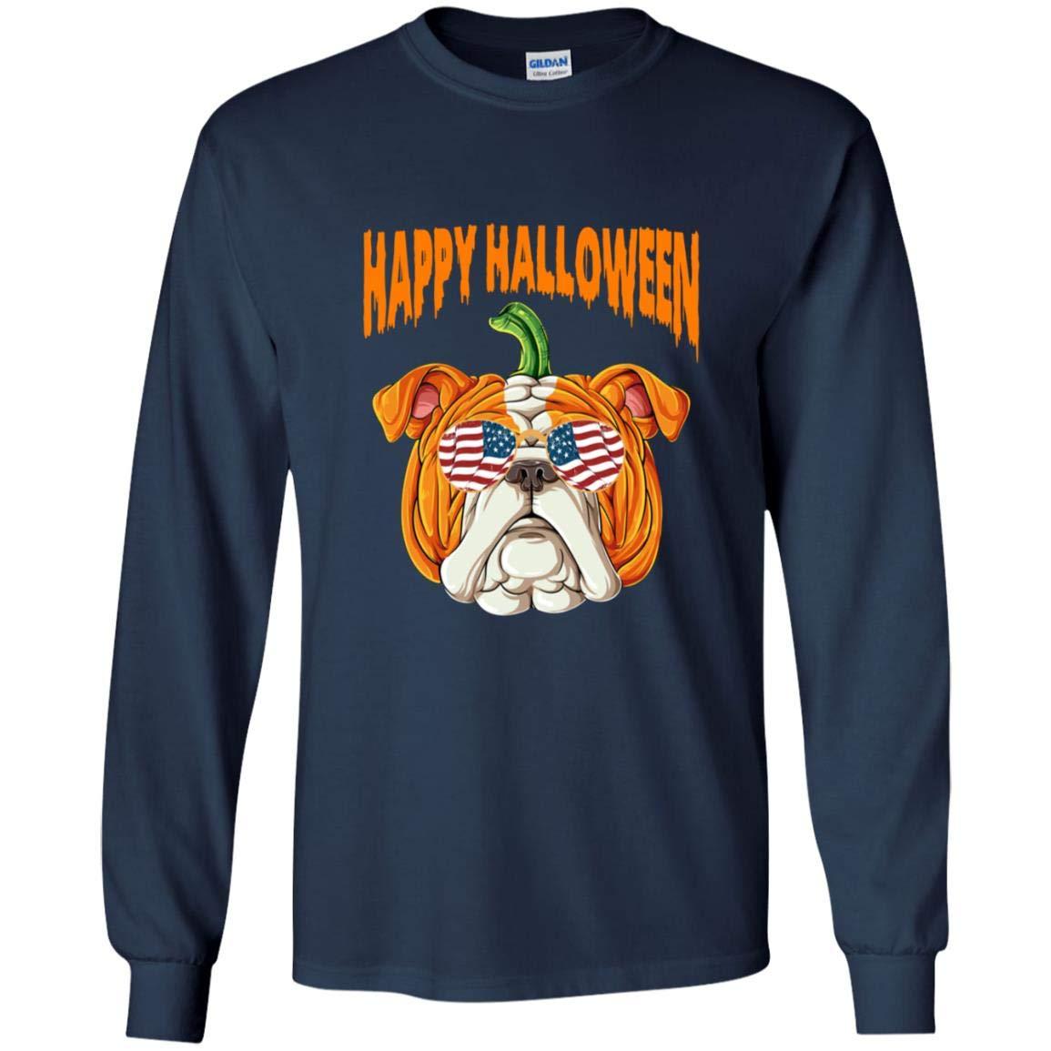 Bulldog Pumpkin T Shirt Halloween