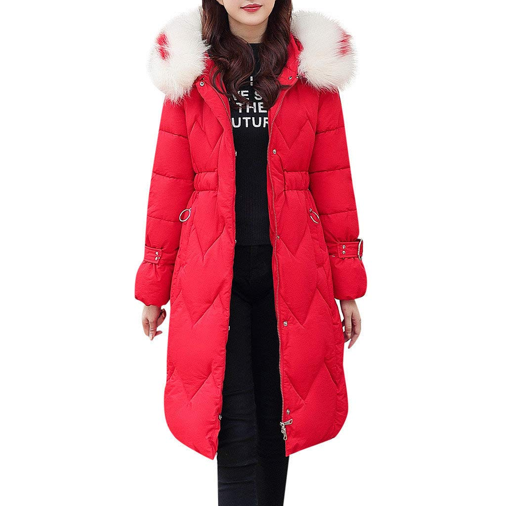 jin&Co Down Jacket Women Classic Faux Fur Hoodies Puffer Parka Coat Warm Casual Outercoat Jacket with Pockets Red by jin&Co Jacket