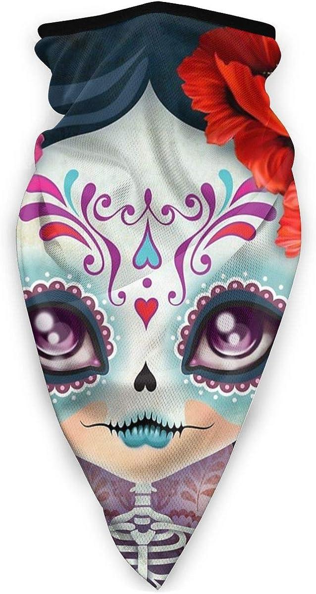 Wind-Resistant Face Mask/& Neck Gaiter,Balaclava Ski Masks,Breathable Tactical Hood,Windproof Face Warmer for Running,Motorcycling,Hiking-Amelia Calavera Sugar Skull