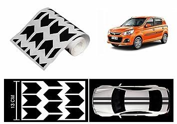 Speedwav Car Racing Stripe Graphic Sticker RED N BLACKMaruti Alto - Car body graphics for alto