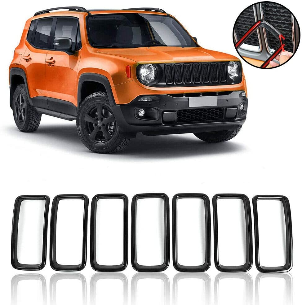 KKONE 7pcs Black ABS Front Grill Guard Grille Insert Cover Trim for 2019 2020 Renegade