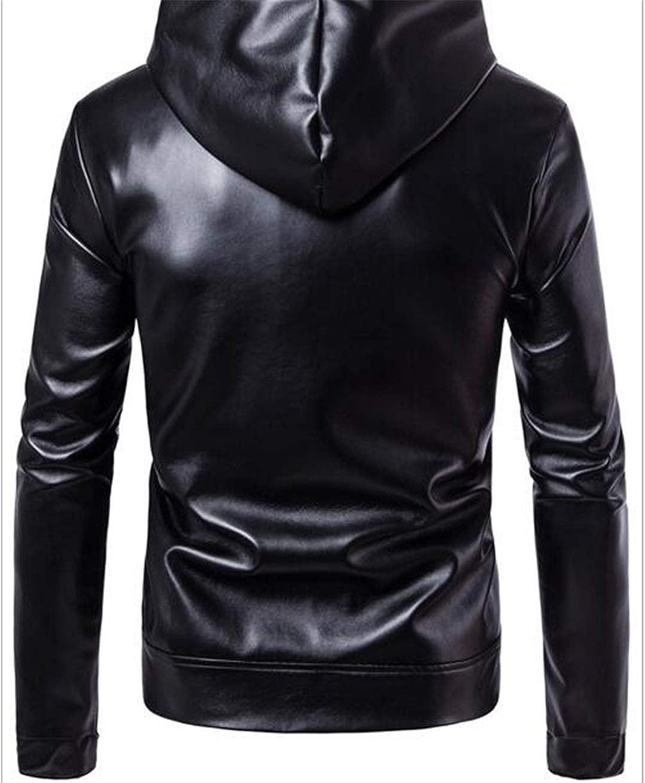 HAIGEINin PU Faux Leather Jacket Men Biker Leather Jacket Motorcycle Jacket Black Leather Hood