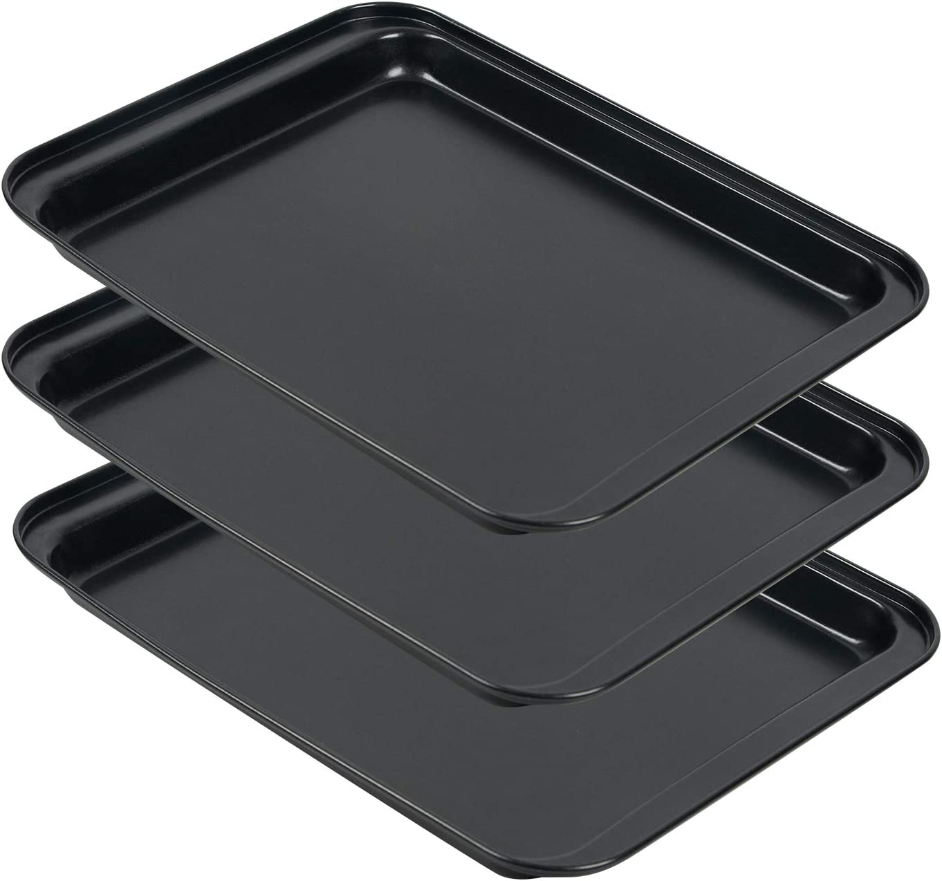 Baking Sheets For Oven, 3PCS Nonstick Cookie Sheet Pans, Carbon Steel Mini Oven Pan Sets w/Rimmed Border for Baking, Small Baking Trays for Toaster Oven Replacement, Easy Clean, Dishwasher Safe