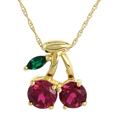 7a122c641ff Amazon.com: 10k Gold Cherry Necklace Lab Created Ruby & Emerald ...
