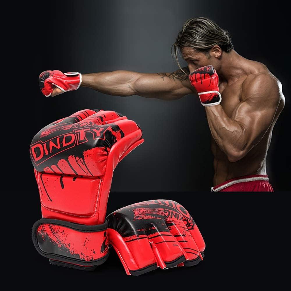 Loe Halb-Finger-Boxhandschuhe f/ür Erwachsene Unisex-Sanda-Kampf-MMA-professionelles Training Boxing Mitts Breathable Open Palm Bequeme tragbare Boxhandschuhe