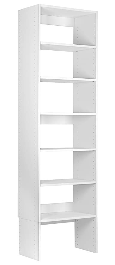 Modular Closets Wood Closet Organizer Shelf Tower System (18u0026quot; Wide,  White)