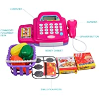FunBlast Pretend Play Cash Register with Scanner, Swipe Machine, Credit Card, Coins, Cashier Desk Toys, Educational Toys for Kids (Multicolor)