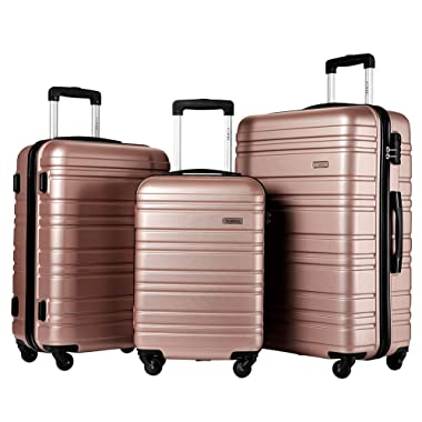 Hard Side Spinner Luggage 3 Piece Set Suitcase Spinner Hard Shell (rose glod)