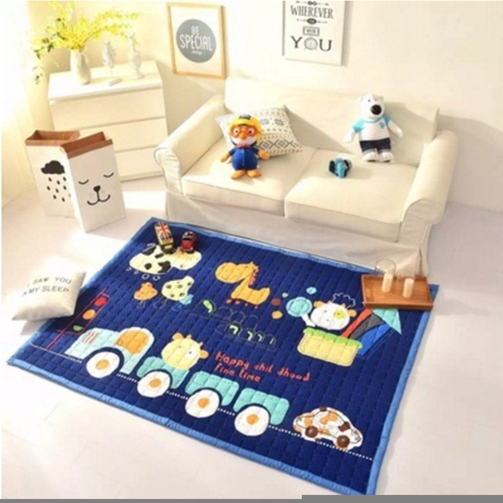 Ustide Fun Kid's Country Farm Life Mat Animal and Tractor Area Rug,Navy Blue,Normal,4.8'' x 6'4