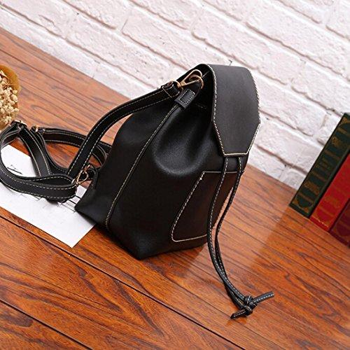 Donna Donna ragazza Donna Luoluoluo Zaino zaino Soft tempo Nero moda coulisse Borsa Bag borsa zaino libero studente C5qxpAw