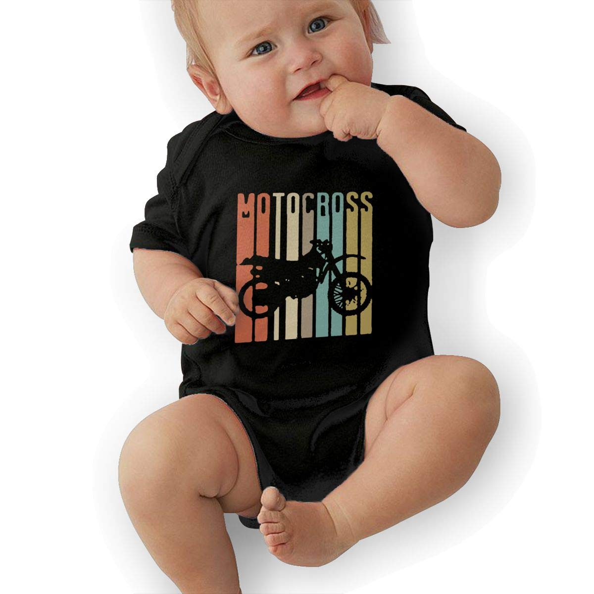 Baby Girl Short Sleeve Organic Bodysuits Vintage Motocross Dirt Bike Silhouette Baby Rompers