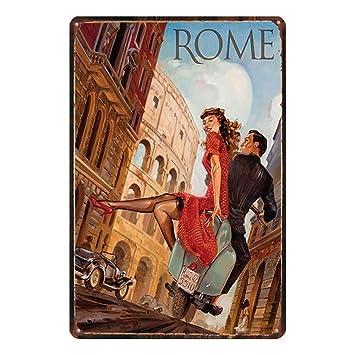 Amazon.com: Sarmoo Rome Metal Wall Sign Retro Plaque Poster ...