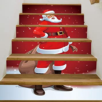 3d Christmas Decor Stair Sticker Reindeer Staircase Decals Waterproof Removable Mural Wallpaper For Xmas Home Decoration Home Decor