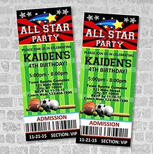 Amazon Com Sports Ticket Invitations All Star Sports Birthday