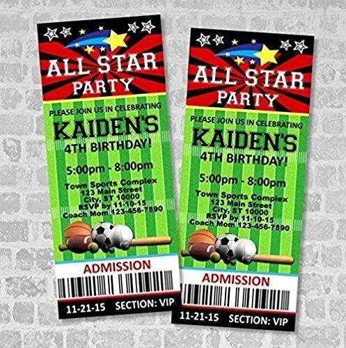 Sports Ticket Invitations, All Star Sports Birthday Party Ticket Invitation, Custom AllStar Sports Party Ticket Invites, Matte Finish -