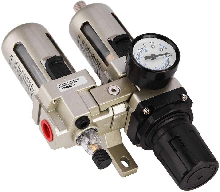AC3010-03 Aluminum Alloy Compressed Air Pressure Regulator Moisture Trap Water Filter 3//8