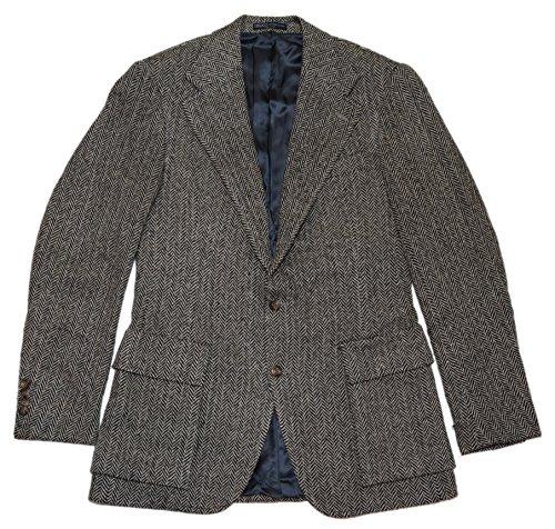 (Ralph Lauren Polo Mens Virgin Wool Harringbone Sport Coat Blazer Black Italy 40L)