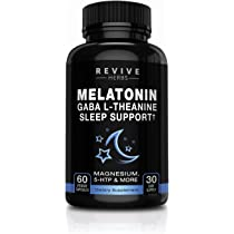 Melatonin, GABA, L-Theanine - Sleep and Relaxation Support 60 Veggies Capsules - Also Includes Magnesium, 5-HTP, Phellodendron Root Powder & Mucuna ...