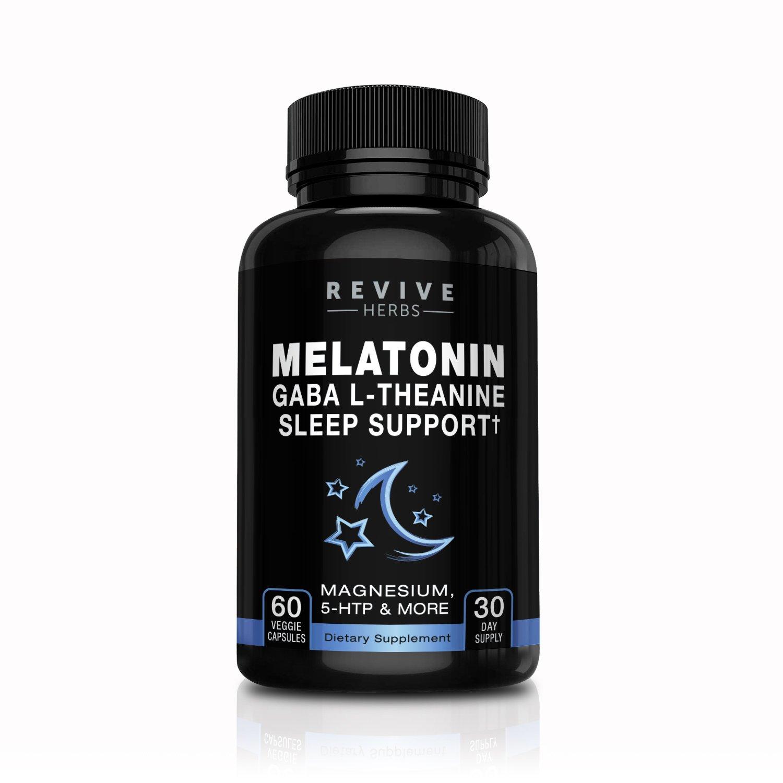 Melatonin, GABA, L-Theanine - Sleep and Relaxation Support 60 Veggies Capsules -