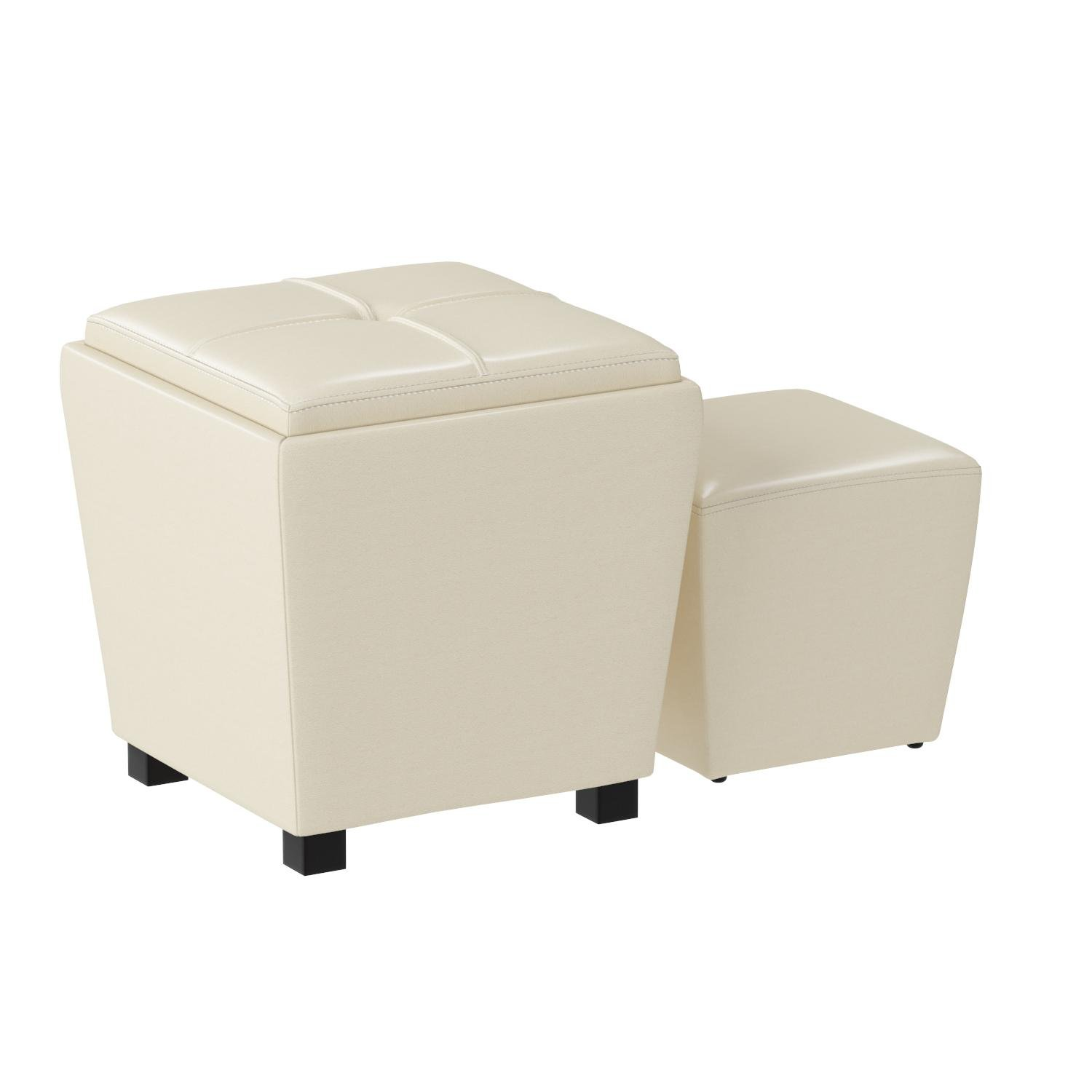 OSP Designs Office Star Metro 2-Piece Storage Ottoman Cube Set in Eco Leather, Cream by OSP Designs (Image #2)