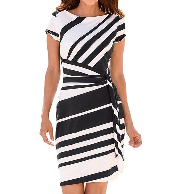 Vestidos para mujer, Vestidos de trabajo Vestido de fiesta a rayas Mini vestidos casuales Slim